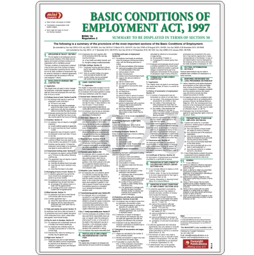 MiniCHART - Basic Conditions of Employment Act Summary